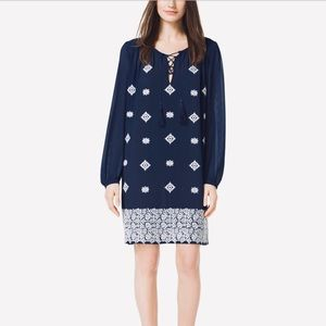 Michael Kors Embroidered Lace-Up Tunic Dress Sz S